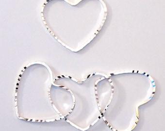 Silver Heart Links_Diamond Cut_20x22.5mm_5 pieces_Love Pendants_Valentine_Be Mine_I Heart You