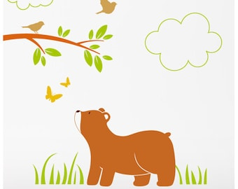 Bear Cub Wall Stickers, Forest Animals Wall Decals, Woodland Nursery Decor, Australian made