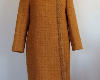 1960 1970 Textured Wool Coat Rolled Collar Chanel Style