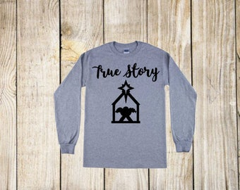 True Story Manger Scene Iron On Decal| Christmas Decals| Diy Iron On Decal| Heat Transfer Vinyl| NEXT DAY SHIPPING!