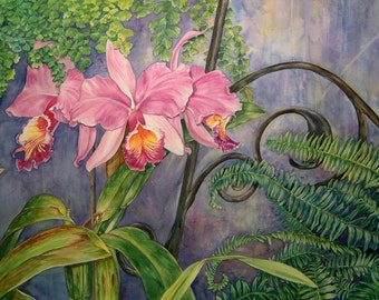 """Fine Art print of an original watercolor """"Pink Cattleya Orchids"""""""