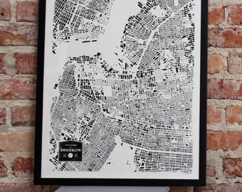 CityFabric Brooklyn, NY City Buildings Map Print (Print-Bkn-Bw-18-24)