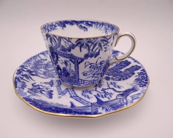 1930s Vintage Royal Crown Derby English Bone China Teacup Blue Mikado English Teacup and Saucer - English Tea cup - 4 available