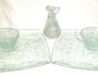 Vintage Hazel Atlas Drizzle, 5 Pc Set, Turquoise, Hazel Atlas, Drizzle Plate, Drizzle Cup, Drizzle Cruet, Spaghetti, Mid Century Mod, 1950s