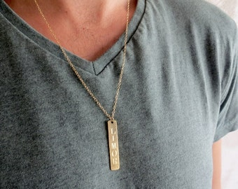 Men's Personalized Necklace - Men's Engraved Necklace - Customized Men Necklace -  Men's Initial Necklace - Men's Coordinates Necklace