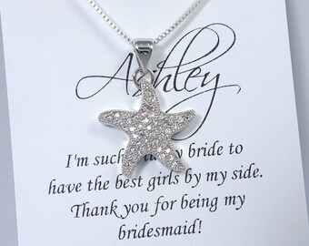 Starfish Necklace, Sea Star Necklace, Beach Wedding Necklace, Summer Wedding Necklace, Bridesmaid Necklace, Starfish, Bridesmaid Gift