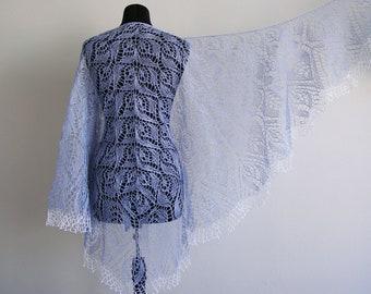 Linen Shawl, blue Knit Shawl, Summer Shawl, Wrap, linen scarf, hand knit shawl, knitted shawl,  blue Shawl, lace Shawl