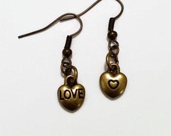Bronze Mini Heart Earrings