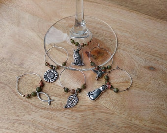 Pink and Green Unakite Wine Charms | Wine Lover | Wine Gift