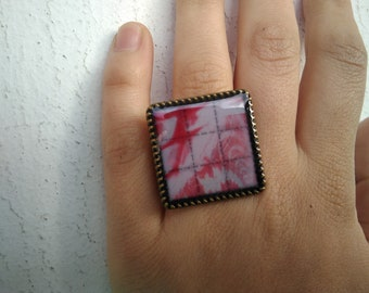LSD blotter ring red fractal psychedelic sacred geometry metalic 30mm x 30mm