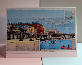 The Boating Lake, Brighton, i360, Brighton Pier, British Seafront, West Pier, Victorian, Old Postcards, Greeting Card, England, Vintage.