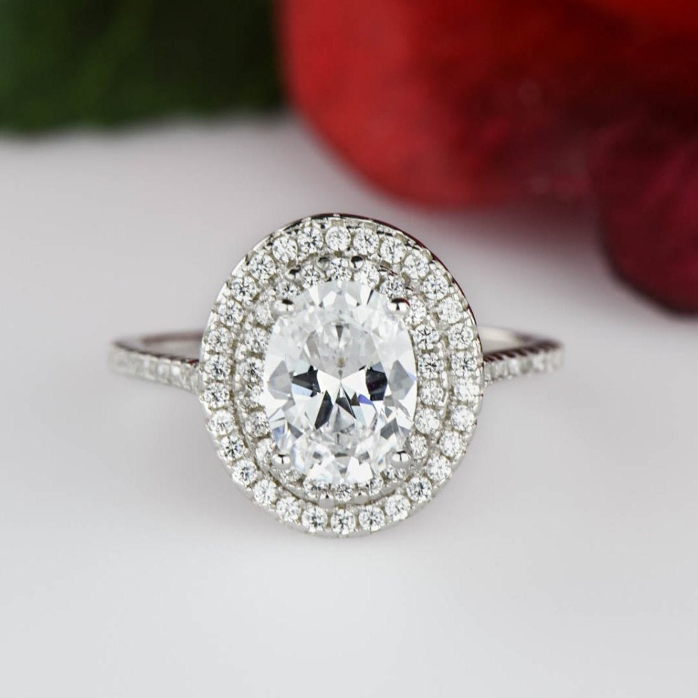 1 5 Ctw Oval Double Halo Ring Engagement Ring 1 25 Carat