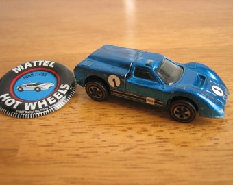 Vintage Hot Wheels FORD J-CAR Toy Car and Ford J-Car Button/Pin  Mattel 1960's