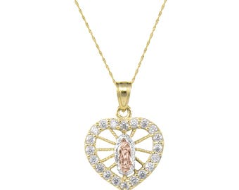 14K Solid Yellow White Rose Gold Cubic Zirconia Heart Virgin Mary Necklace Pendant + Singapore Chain - Lady of Guadalupe Necklace Charm