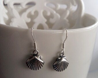 Shell Earrings - Small Silver Shell Earrings Conchitas - Sterling Silver Earrings - Farewell Gifts, Camino de Santiago, Pilgrim Symbol