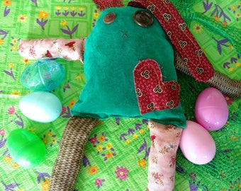 Raggedy rabbit, button eyed, embroidered nose, stuffed bunny, long ears, frankenbunny, Frankenstein, Easter bunny, rabbit Easter eggs