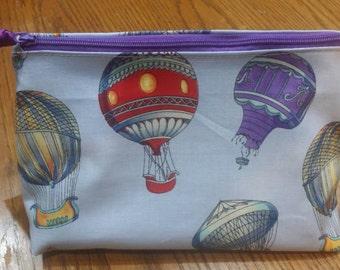 Hot air balloon fabric , cosmetic bag, make-up bag, zipper pouch.