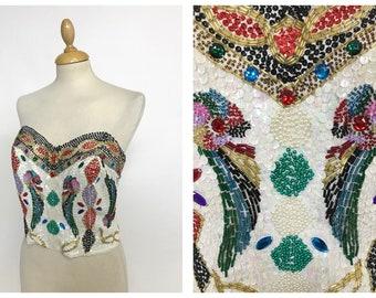 Vintage 1980s sequins strapless top corset bustier - size M
