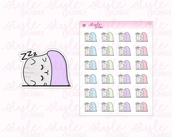 Grey the Cat | Nap Time | Sleep In | Sleeping | 050 | Original Hand Drawn Planner Stickers | Erin Condren | Happy Planner