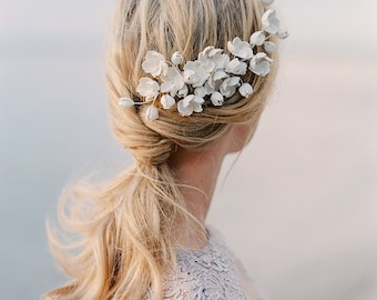 "Bridal headpiece-Bridal comb- Floral headpiece- Clay floral- Statement headpiece- White headpiece- Opal headpiece- TWRA ""MALVA"" Large Comb"