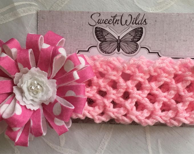 Crocheted  & Felt Flower Stretchy Headband-Baby Hairbands-READY TO SHIP-Newborn Shower Gifts