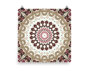 Unique Wall Art, Abstract Home Decor in Earthy Tones, Nature Inspired Mandala Art Print