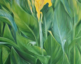 Oil painting of yellow flowers and green leaves