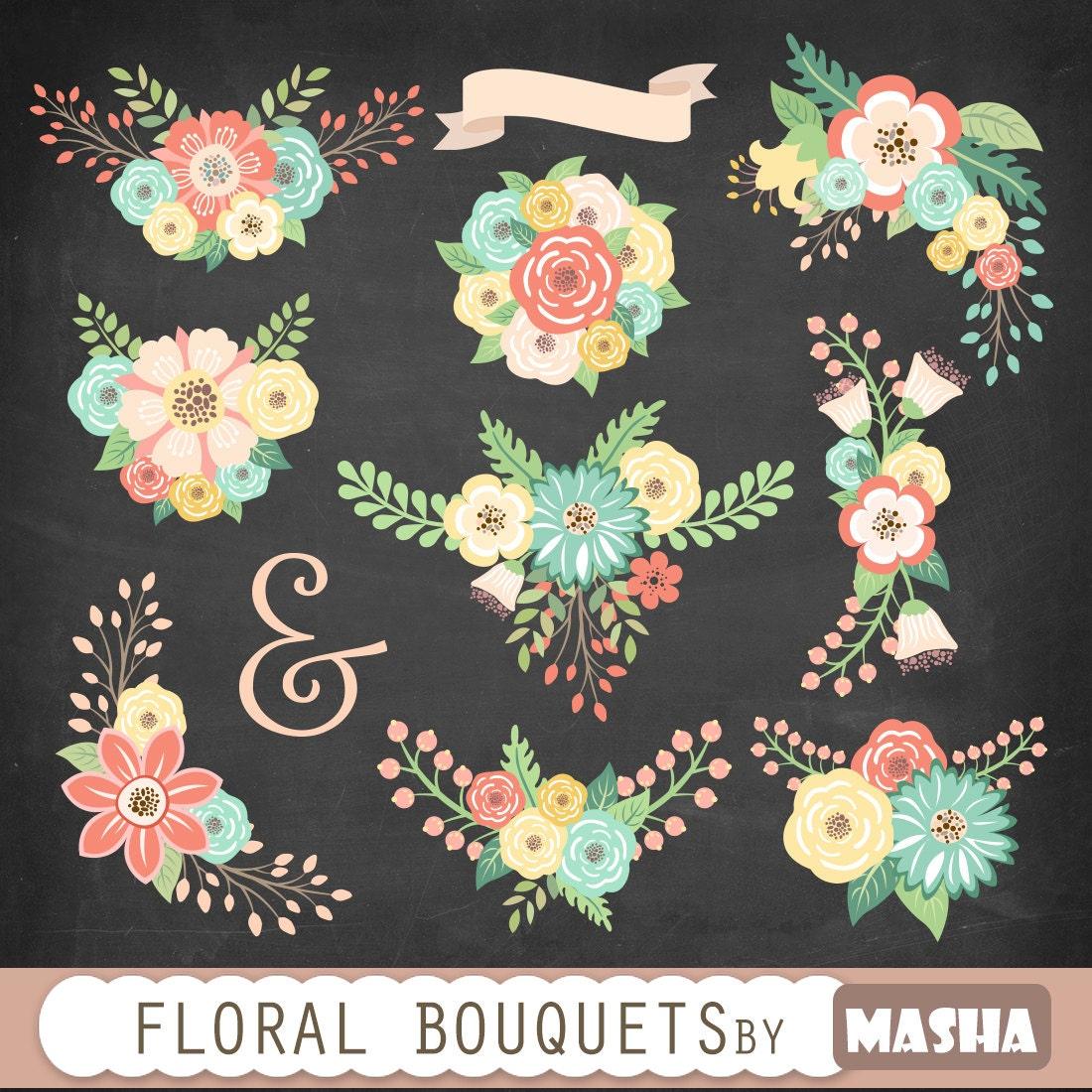 Flower bouquets clipart: \