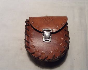 Vintage Handmade  Brown Leather Pouch Belt - NEW
