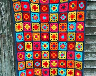 Crochet Blanket Throw Boho Rainbow Pattern
