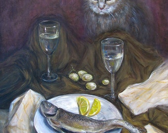 Cat, Fish, Grape And Wine - Original Unique Acrylic Painting On Canvas, Size 70x50 cm/ Originale Acryl Gemälde auf Leinwand, Größe 70x50 cm