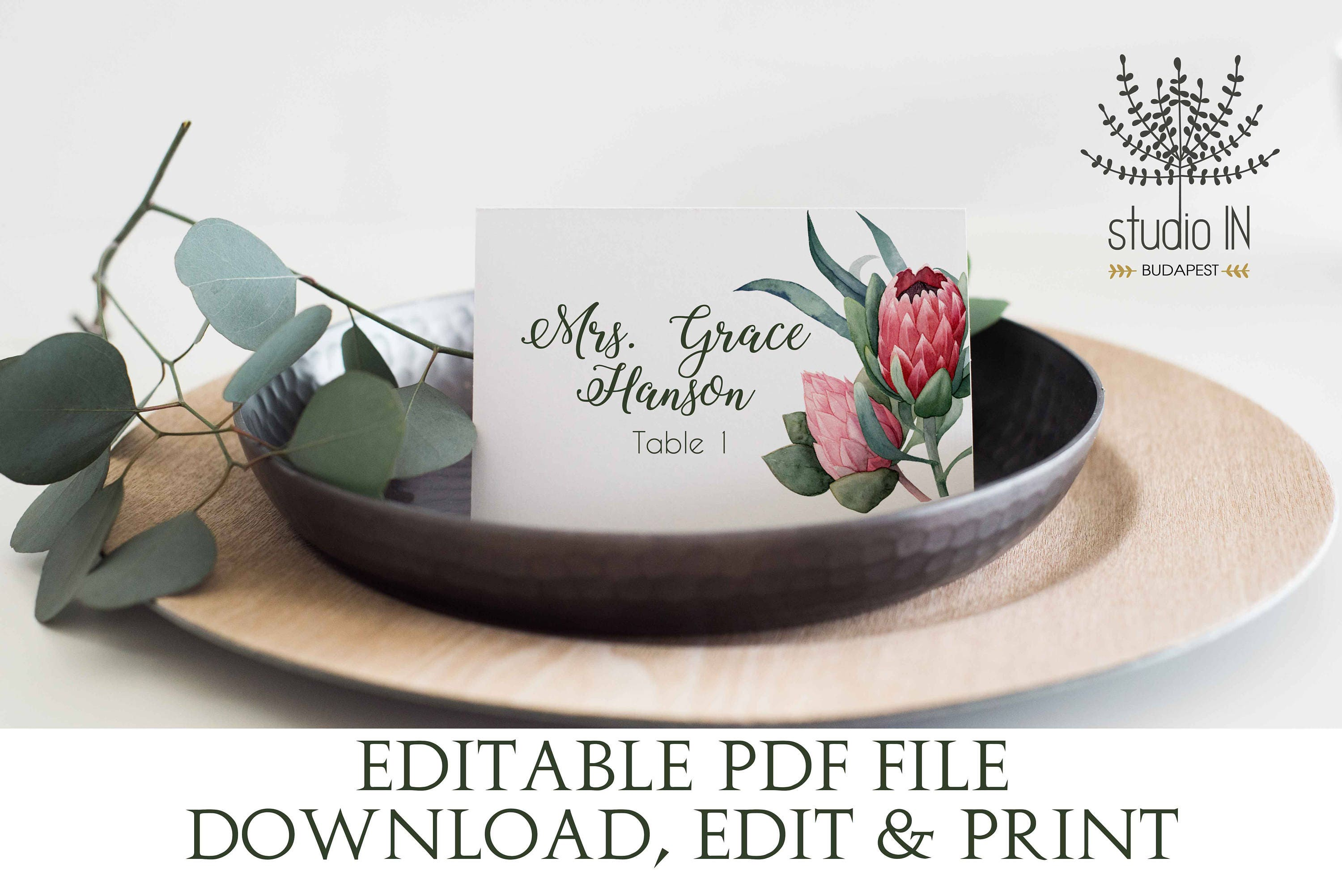 Protea Place Card template protea wedding table card