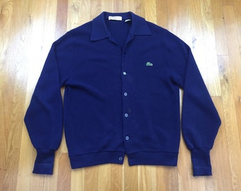 Vintage 70s Lacoste Izod cardigan sweater navy blue button up collared wool style izod of london made in usa distressed