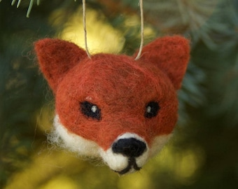 Fox Ornament - needle felted animal wool ball ornament