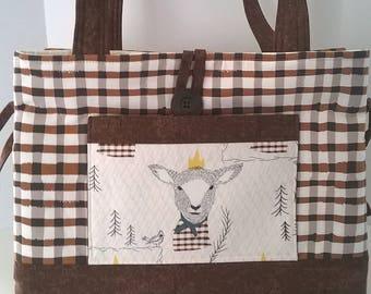 Handcrafted Large Knitting Bag, Tote Bag, Handbag, Sheep #15