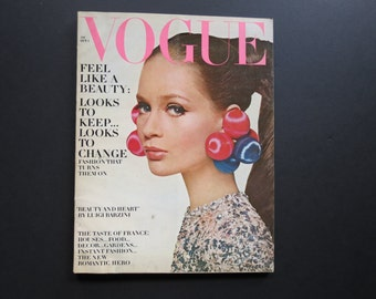 Vogue Fashion Magazine // Vintage 1966 Mod Fashion Photographs and Advertisements Coffee Table Decor Couture October Issue Retro