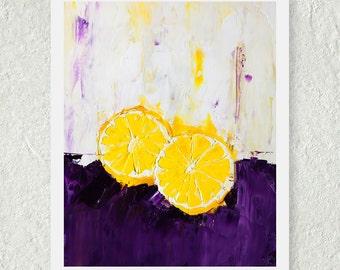 Lemon Print, Citrus Fruit Print, Small Art Print, Contemporary Print, Kitchen Art Decor, Purple and Yellow, Food Wall Art, Fine Art Print