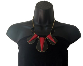 Gold,Black &  Red BIB Necklace,Statement Jewelry, Modern Necklace,Statement jewelry,Enamel fusion jewelry by TANEESI