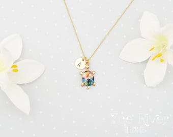 Personalized turtle necklace. Gold and rainbow coloured turtle necklace. Dainty turtle necklace.