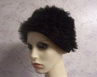 Beautiful 50'S Black Ruffled Netting  Authentic Vintage Formal Hat