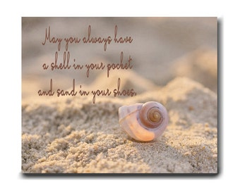 Seashell quote canvas wall art beach photography, May you have a shell in your pocket quote, coastal beach house decor, nautical canvas art