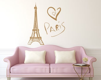 Eiffel Tower Wall Decal Paris Silhouette Vinyl Stickers Decals Art Home Decor Mural Vinyl Lettering Wall Decal France Bedroom Dorm x255