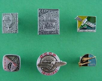 Space Badges.Cosmos Pins,Sputnik,Cosmonaut,Moon,SOYUZ,Vostok.Gagarin.East. Soviet Pins,Soviet Badges. Collectible Metal Badge. Made in USSR.