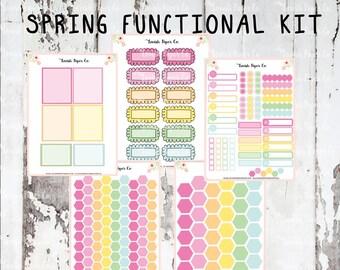 Spring Functional Kit Planner Stickers, for spring stickers, easter stickers, pastel kit, girly kit, ECLP kit, functional kit, mini kit