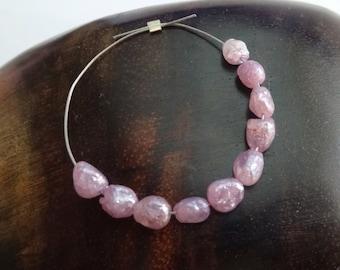 Pink Sapphire Mystic Bead, Pink Sapphire Beads, Pink Sapphire Gemstone, Pink Sapphire Nuggets, Tiny Precious Sapphire, JULY BIRTHSTONE