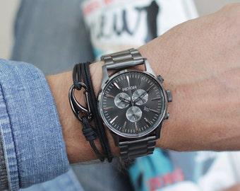 Black bracelet for men -Bracelet for men, naval rope - cord bracelet for men - hook bracelet for men - carabiner hook bracelet - Men jewelry