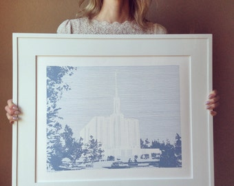 SEATTLE Washington LDS Temple (Original Drawing) Modern Ink Lines