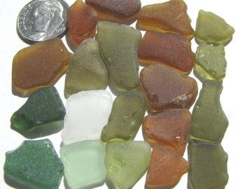 Bulk Sea Glass, 20 Pieces, Autumn Colors Seaglass Lot - Beach Glass, Bulk Lot, For Crafts, Brown, Green, Sea Glass Supplies