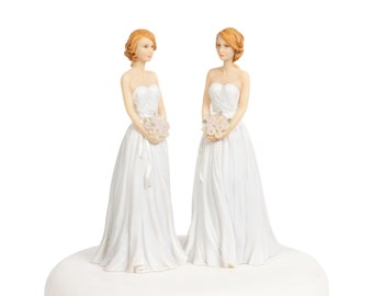Lesbian Gay Wedding Cake Topper - Custom Painted Hair Color Available - 702220/702220