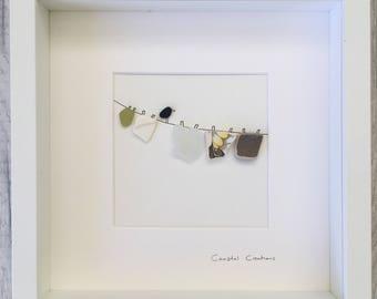 Sea glass and pebble art